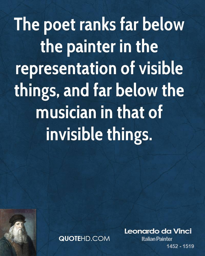 The poet ranks far below the painter in the representation of visible things, and far below the musician in that of invisible things.