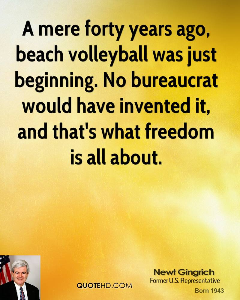 A mere forty years ago, beach volleyball was just beginning. No bureaucrat would have invented it, and that's what freedom is all about.