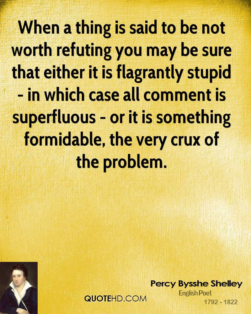 When a thing is said to be not worth refuting you may be sure that either it is flagrantly stupid - in which case all comment is superfluous - or it is something formidable, the very crux of the problem.