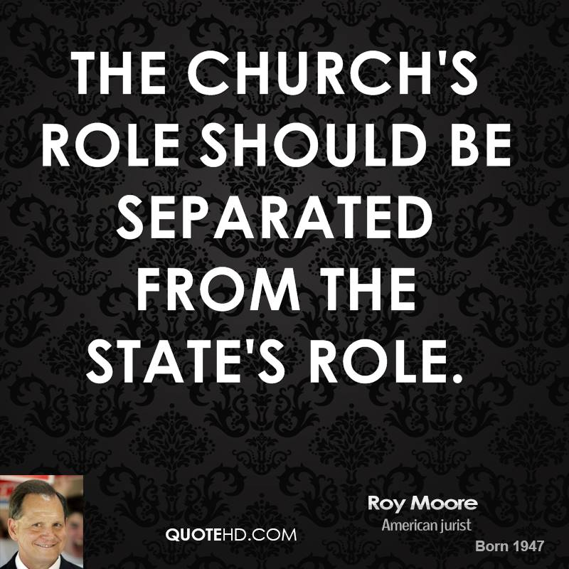 The Church's role should be separated from the state's role.