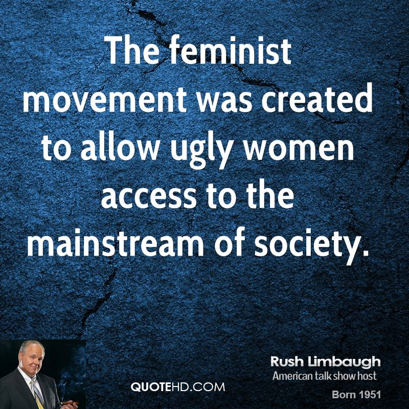 the latest from the feminist front by rush limbaugh essay Resources essay entrance unlv for students to enhance their skills in 12-10-2010 read rush limbaugh's handout the latest from the feminist front in.