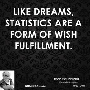 Like dreams, statistics are a form of wish fulfillment.