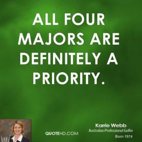 Karrie Webb - All four majors are definitely a priority.