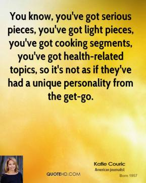 You know, you've got serious pieces, you've got light pieces, you've got cooking segments, you've got health-related topics, so it's not as if they've had a unique personality from the get-go.