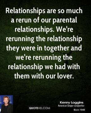 Relationships are so much a rerun of our parental relationships. We're rerunning the relationship they were in together and we're rerunning the relationship we had with them with our lover.