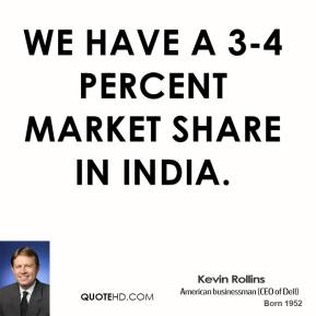 We have a 3-4 percent market share in India.