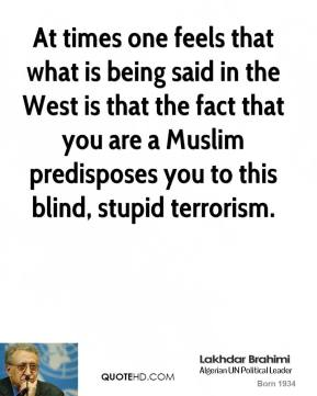 Lakhdar Brahimi - At times one feels that what is being said in the West is that the fact that you are a Muslim predisposes you to this blind, stupid terrorism.