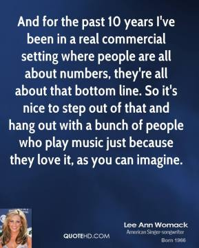 Lee Ann Womack - And for the past 10 years I've been in a real commercial setting where people are all about numbers, they're all about that bottom line. So it's nice to step out of that and hang out with a bunch of people who play music just because they love it, as you can imagine.