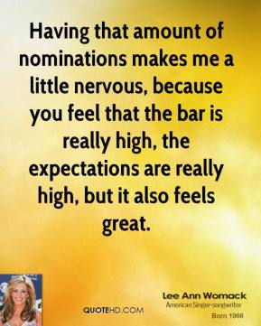 Having that amount of nominations makes me a little nervous, because you feel that the bar is really high, the expectations are really high, but it also feels great.