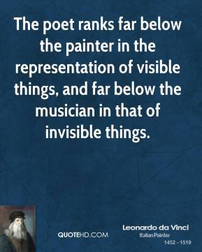 Leonardo da Vinci - The poet ranks far below the painter in the representation of visible things, and far below the musician in that of invisible things.