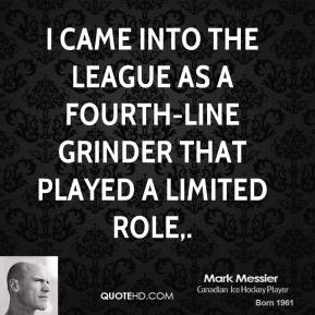 I came into the league as a fourth-line grinder that played a limited role.