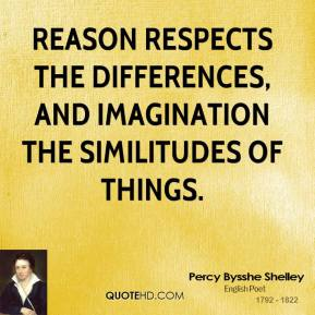 Reason respects the differences, and imagination the similitudes of things.