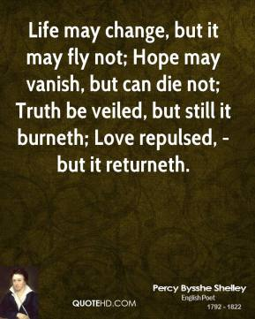 Life may change, but it may fly not; Hope may vanish, but can die not; Truth be veiled, but still it burneth; Love repulsed, - but it returneth.