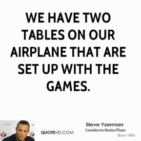 Steve Yzerman - We have two tables on our airplane that are set up with the games.