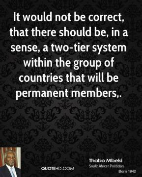 It would not be correct, that there should be, in a sense, a two-tier system within the group of countries that will be permanent members.