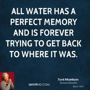 Toni Morrison - All water has a perfect memory and is forever trying to get back to where it was.
