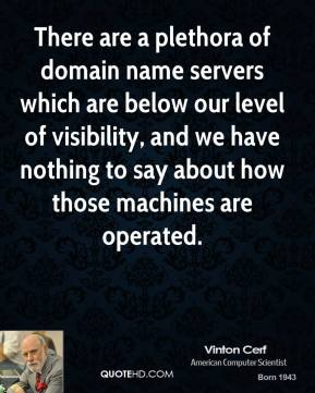 Vinton Cerf  - There are a plethora of domain name servers which are below our level of visibility, and we have nothing to say about how those machines are operated.