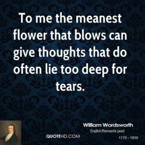 William Wordsworth - To me the meanest flower that blows can give thoughts that do often lie too deep for tears.