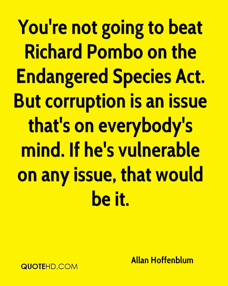 You're not going to beat Richard Pombo on the Endangered Species Act. But corruption is an issue that's on everybody's mind. If he's vulnerable on any issue, that would be it.