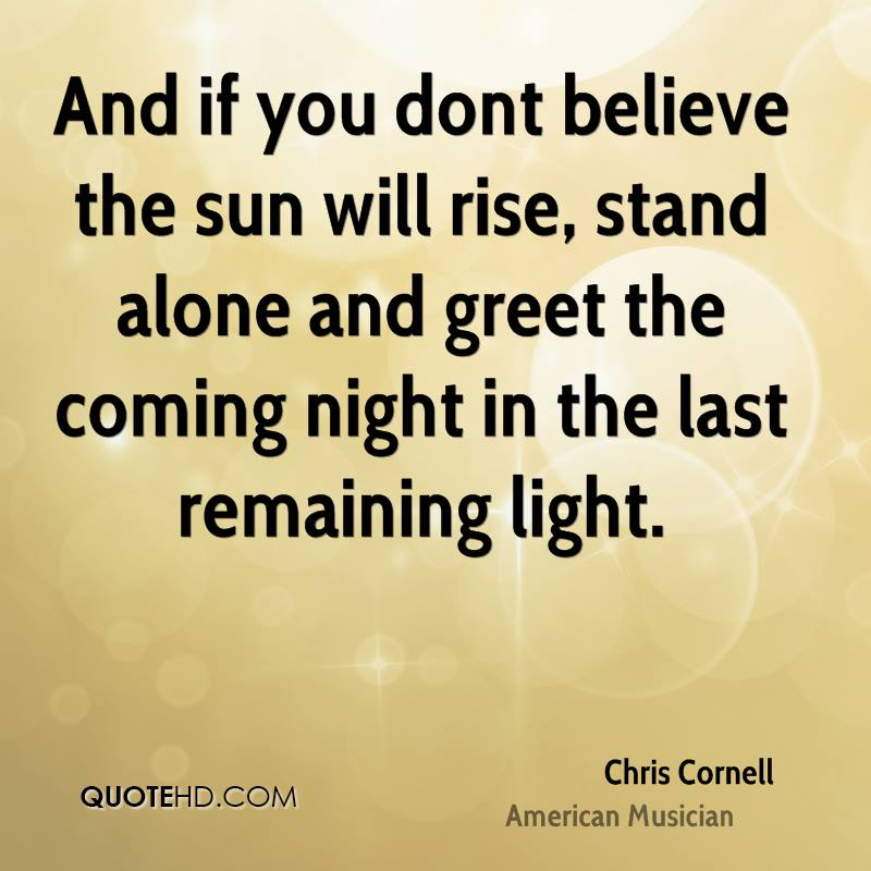 And if you dont believe the sun will rise, stand alone and greet the coming night in the last remaining light.