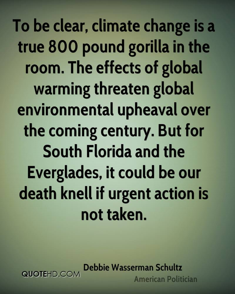 To be clear, climate change is a true 800 pound gorilla in the room. The effects of global warming threaten global environmental upheaval over the coming century. But for South Florida and the Everglades, it could be our death knell if urgent action is not taken.