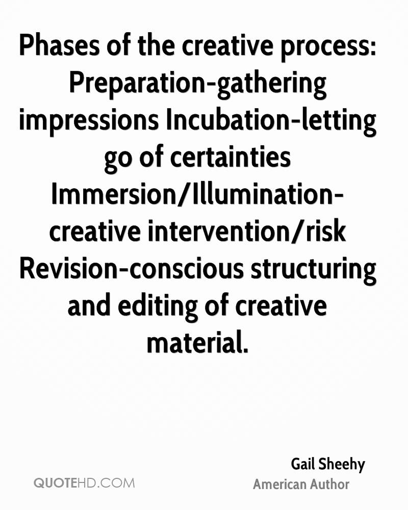 Phases Of The Creative Process: Preparation Gathering Impressions  Incubation Letting Go Of Certainties