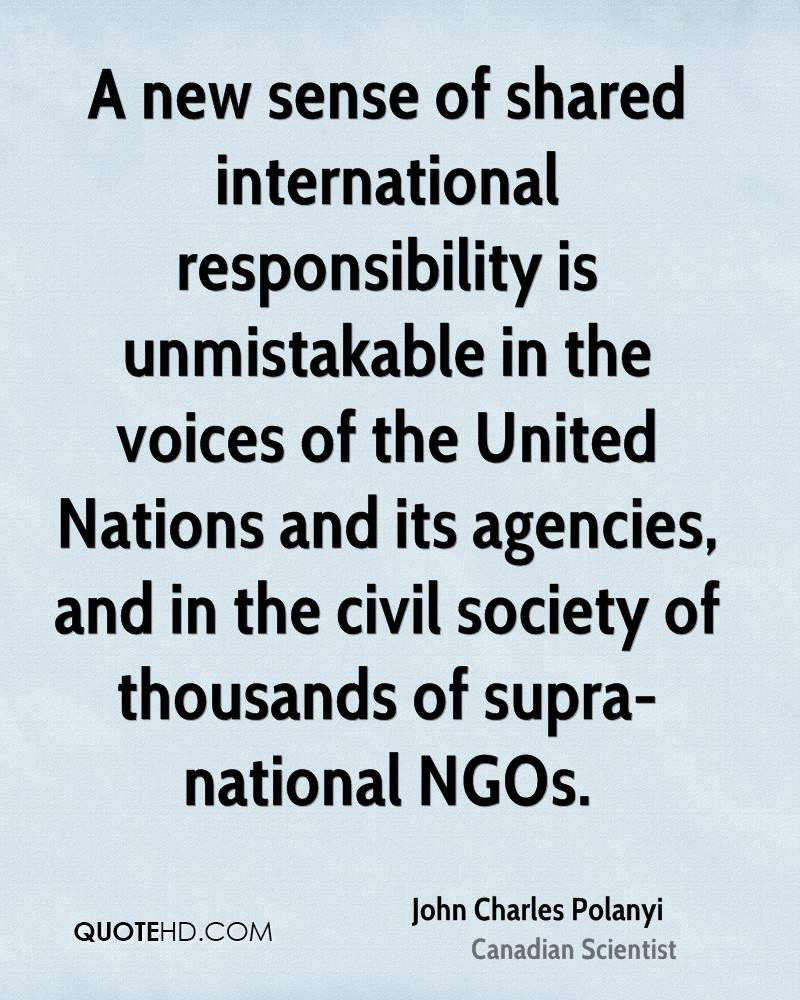 A new sense of shared international responsibility is unmistakable in the voices of the United Nations and its agencies, and in the civil society of thousands of supra-national NGOs.