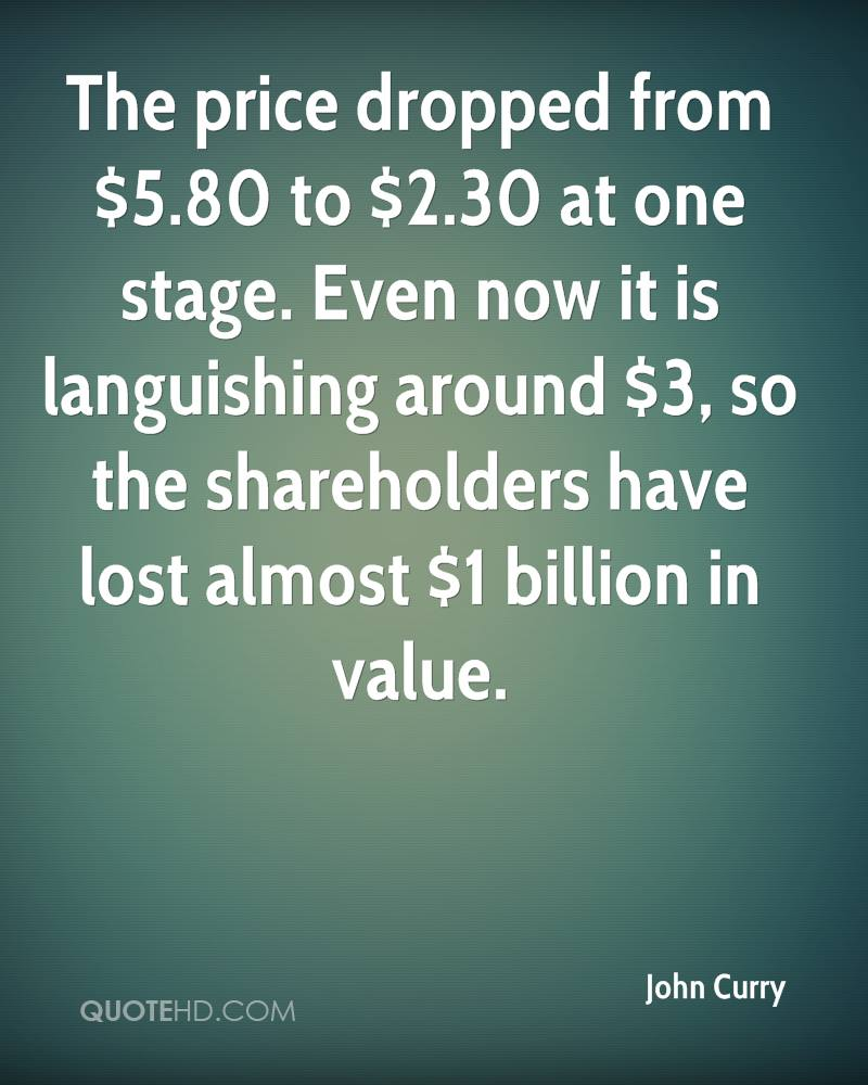 The price dropped from $5.80 to $2.30 at one stage. Even now it is languishing around $3, so the shareholders have lost almost $1 billion in value.