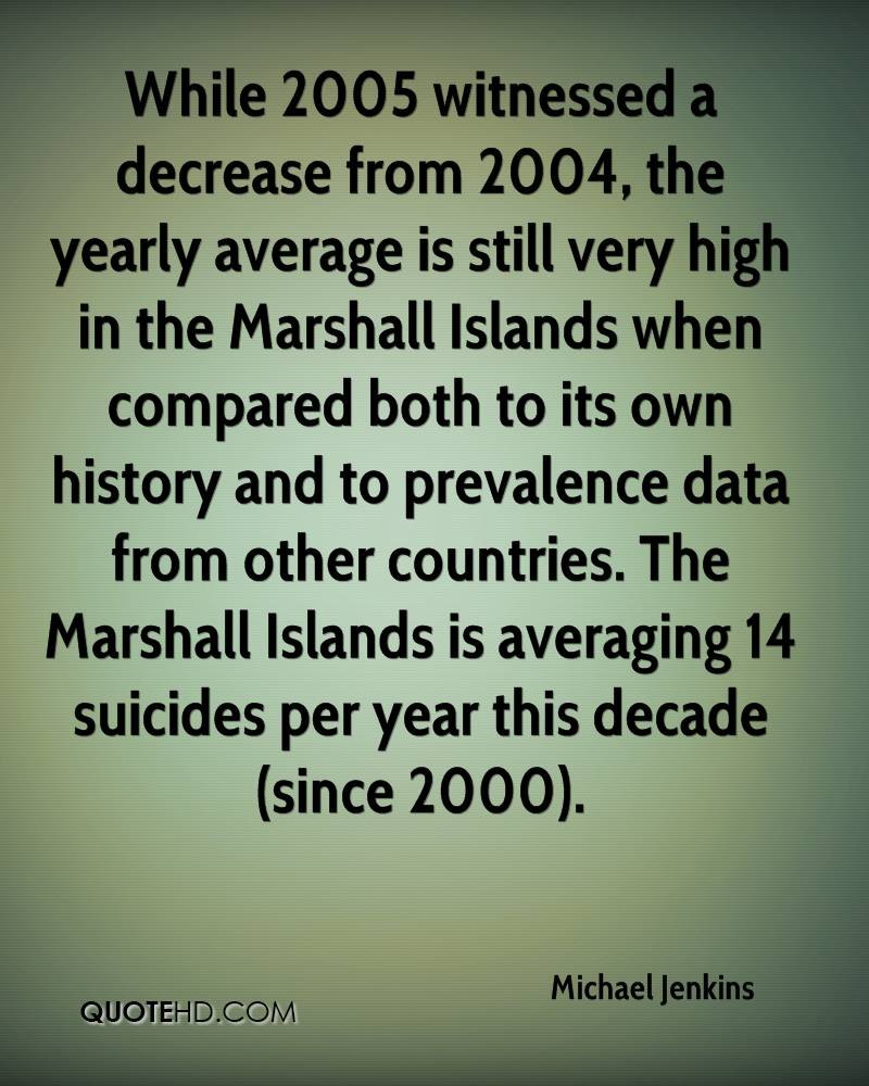 While 2005 witnessed a decrease from 2004, the yearly average is still very high in the Marshall Islands when compared both to its own history and to prevalence data from other countries. The Marshall Islands is averaging 14 suicides per year this decade (since 2000).