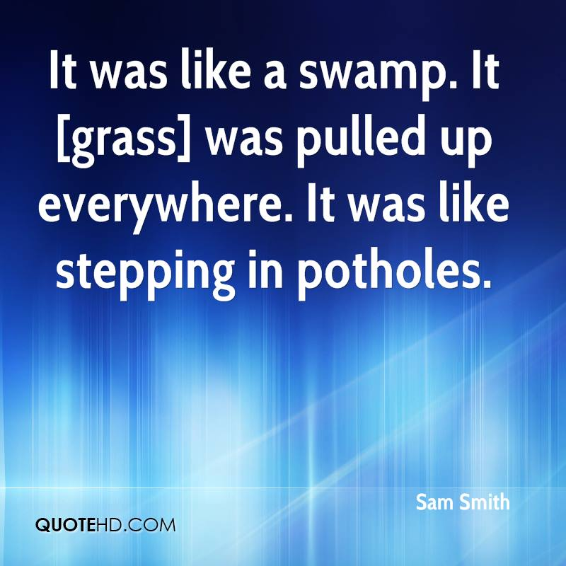 It was like a swamp. It [grass] was pulled up everywhere. It was like stepping in potholes.