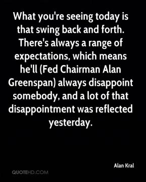 Alan Kral - What you're seeing today is that swing back and forth. There's always a range of expectations, which means he'll (Fed Chairman Alan Greenspan) always disappoint somebody, and a lot of that disappointment was reflected yesterday.
