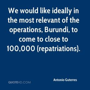 Antonio Guterres - We would like ideally in the most relevant of the operations, Burundi, to come to close to 100,000 (repatriations).