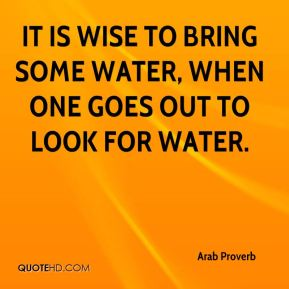 Arab Proverb - It is wise to bring some water, when one goes out to look for water.