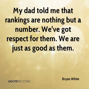 My dad told me that rankings are nothing but a number. We've got respect for them. We are just as good as them.