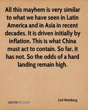All this mayhem is very similar to what we have seen in Latin America and in Asia in recent decades. It is driven initially by inflation. This is what China must act to contain. So far, it has not. So the odds of a hard landing remain high.