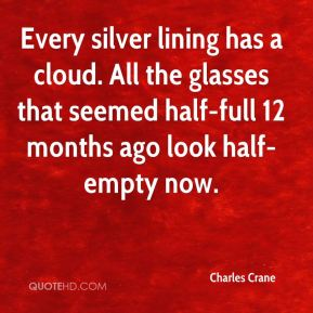 Charles Crane - Every silver lining has a cloud. All the glasses that seemed half-full 12 months ago look half-empty now.