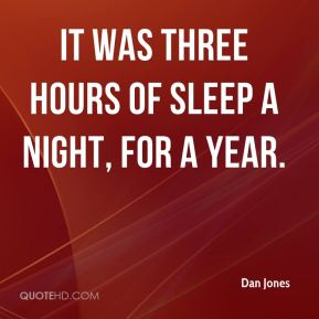 It was three hours of sleep a night, for a year.