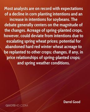Most analysts are on record with expectations of a decline in corn planting intentions and an increase in intentions for soybeans. The debate generally centers on the magnitude of the changes. Acreage of spring-planted crops, however, could deviate from intentions due to escalating spring wheat prices; potential for abandoned hard red winter wheat acreage to be replanted to other crops; changes, if any, in price relationships of spring-planted crops; and spring weather conditions.