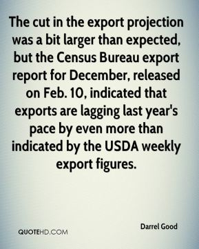 Darrel Good - The cut in the export projection was a bit larger than expected, but the Census Bureau export report for December, released on Feb. 10, indicated that exports are lagging last year's pace by even more than indicated by the USDA weekly export figures.
