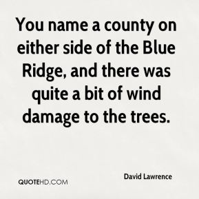 David Lawrence - You name a county on either side of the Blue Ridge, and there was quite a bit of wind damage to the trees.