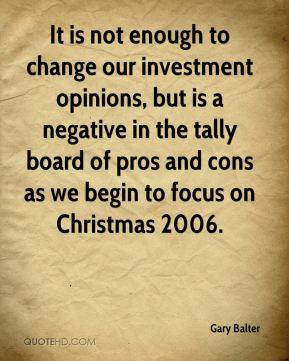 It is not enough to change our investment opinions, but is a negative in the tally board of pros and cons as we begin to focus on Christmas 2006.
