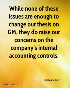 While none of these issues are enough to change our thesis on GM, they do raise our concerns on the company's internal accounting controls.