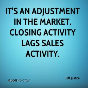 It's an adjustment in the market. Closing activity lags sales activity.