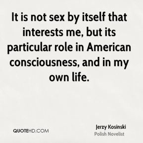 It is not sex by itself that interests me, but its particular role in American consciousness, and in my own life.
