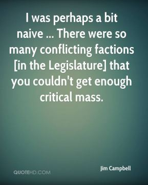 Jim Campbell  - I was perhaps a bit naive ... There were so many conflicting factions [in the Legislature] that you couldn't get enough critical mass.
