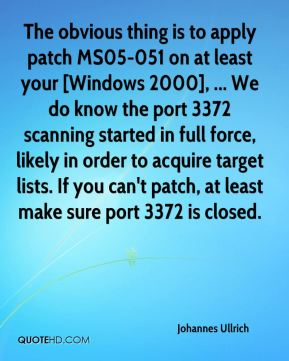 The obvious thing is to apply patch MS05-051 on at least your [Windows 2000], ... We do know the port 3372 scanning started in full force, likely in order to acquire target lists. If you can't patch, at least make sure port 3372 is closed.