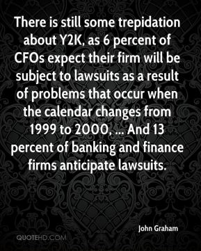 There is still some trepidation about Y2K, as 6 percent of CFOs expect their firm will be subject to lawsuits as a result of problems that occur when the calendar changes from 1999 to 2000, ... And 13 percent of banking and finance firms anticipate lawsuits.