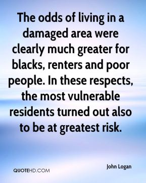 The odds of living in a damaged area were clearly much greater for blacks, renters and poor people. In these respects, the most vulnerable residents turned out also to be at greatest risk.