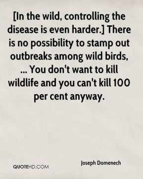 Joseph Domenech  - [In the wild, controlling the disease is even harder.] There is no possibility to stamp out outbreaks among wild birds, ... You don't want to kill wildlife and you can't kill 100 per cent anyway.