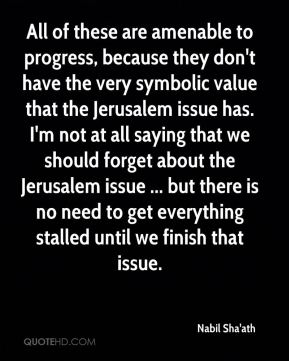 All of these are amenable to progress, because they don't have the very symbolic value that the Jerusalem issue has. I'm not at all saying that we should forget about the Jerusalem issue ... but there is no need to get everything stalled until we finish that issue.